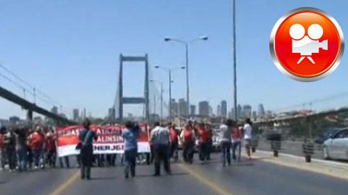 Eylemciler Boğaz Köprüsü'nü trafiğe kapattı