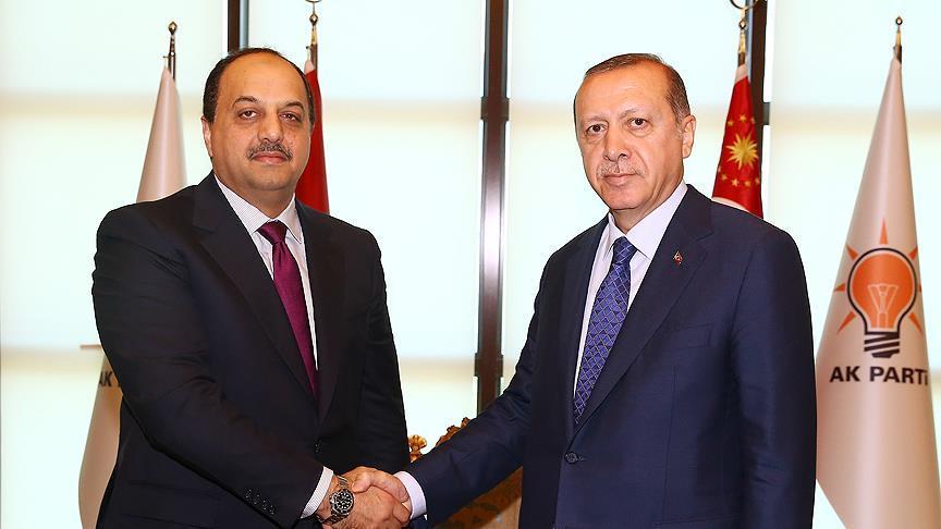 Cumhurbaşkanı Erdoğan, Katar Savunma Bakanı Attiyah'ı kabul etti