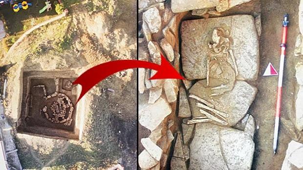 Silivri'de 5 bin yıllık kurgan tipi mezar bulundu